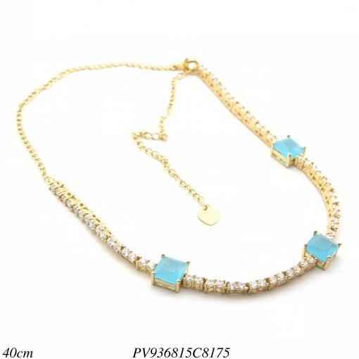 Gargantilha Choker luxo riviera com zircônia branca e azul céu em banho de ouro 18k-8340