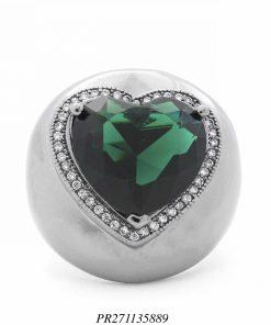 Anel luxo coração zircônia branca e cristal verde em banho de ródio negro-0