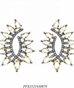 Brinco luxo Malta com zircônia branca e citrino em banho de ródio negro-0