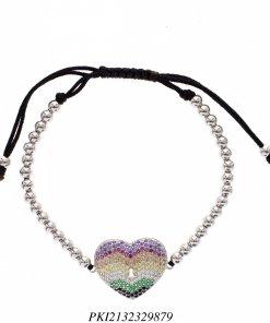 Pulseira luxo Shambala de contas de aço com coração de zircônia colorida em banho de ródio -0