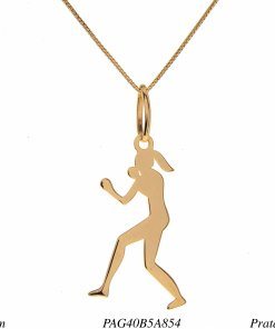 Colar prata 925 esporte pingente Boxe feminino em banho de ouro-0