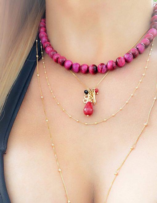 Colar com bolas de pedra natural olho de tigre rosa pink em banho de ouro 18k