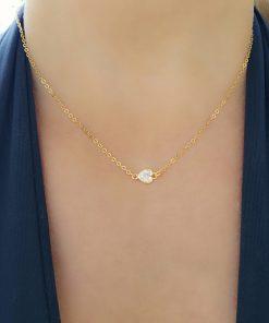Colar 40cm com Coração de zircônia branca em banho de ouro 18k