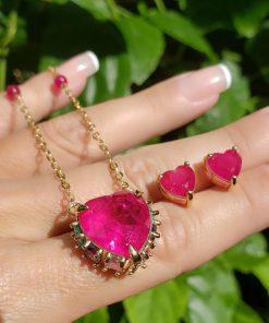 Conjunto brinco e colar coração super luxo com zircônia Rosa Fusion AAA, turmalina, roxa, rosa e branca em banho de ouro 18k