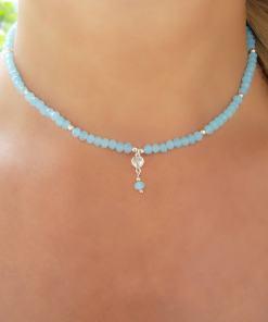 Gargantilha de cristal azul claro, coração de zircônia branca e bola em banho de ródio branco