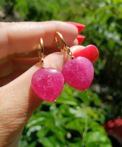 Argola com coração de quartzo Rosa Pink em banho de ouro 18k