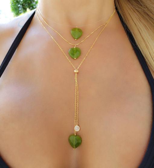 Colar 62cm Gravatinha com Coração de Quartzo Verde e zircônia branca em banho de ouro 18k