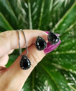 Conjunto brinco e colar Princess com micro zircônia negra em banho de ródio negro