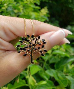 Colar Árvore da Vida 2,8cm com zircônia Negra em banho de ouro 18k
