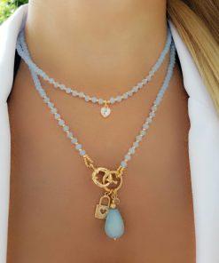 Colar 47cm com cristal Azul Claro, Gota de jade Azul, cadeado com coração e ponto de zircônia branca com bolas em banho de ouro 18k