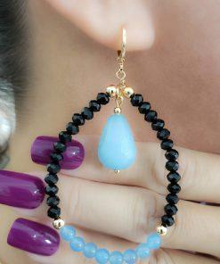 Argola festa com gota de Jade Azul, Cristal negro e bolas em banho de ouro 18k