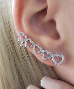 Brinco Ear Cuff Corações com zircônia branca em banho de ródio branco