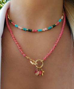 Colar 45cm Patuá com murano Rosa, São Bento, Cruz e gota de zircônia rosa em banho de ouro 18k
