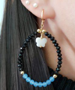 Argola com Borboleta de Madrepérola, cristal negro e jade Azul em banho de ouro 18k
