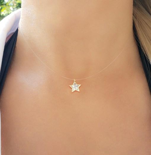 Colar 38cm Invisível com Estrela de zircônia branca em banho de ouro 18k