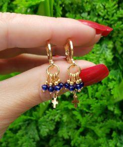Argola Mandala cacho de cristal azul Bic e Cruz em banho de ouro 18k