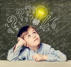elementary school boy thinking