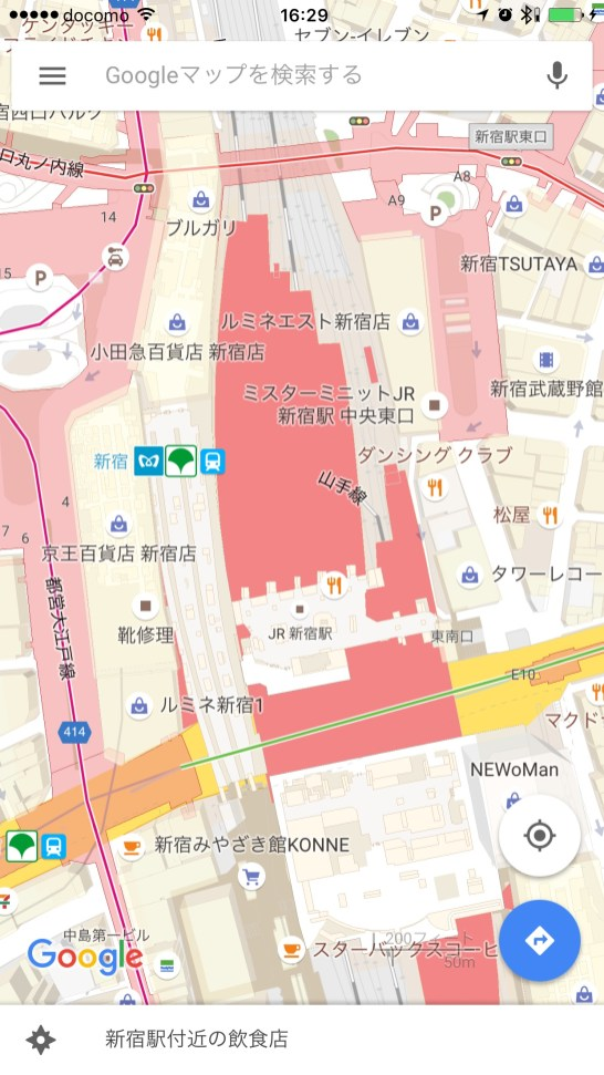 Google Shinjuku view with transit layer on