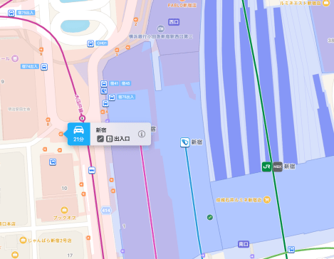 macOS Sierra Transit view of Shinjuku has better exit information than iOS 10.1 Maps
