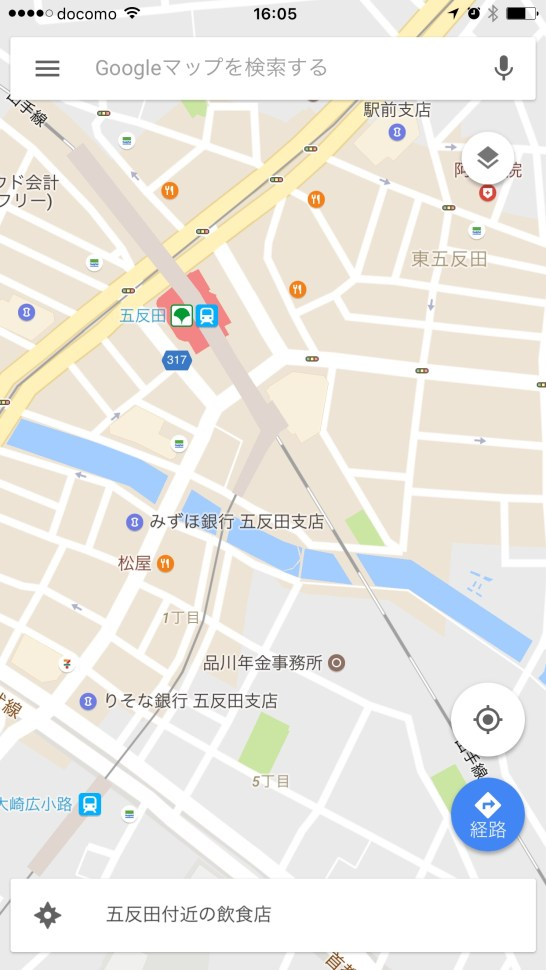 Google Maps Gotanda default view: very Zen but not so very helpful.