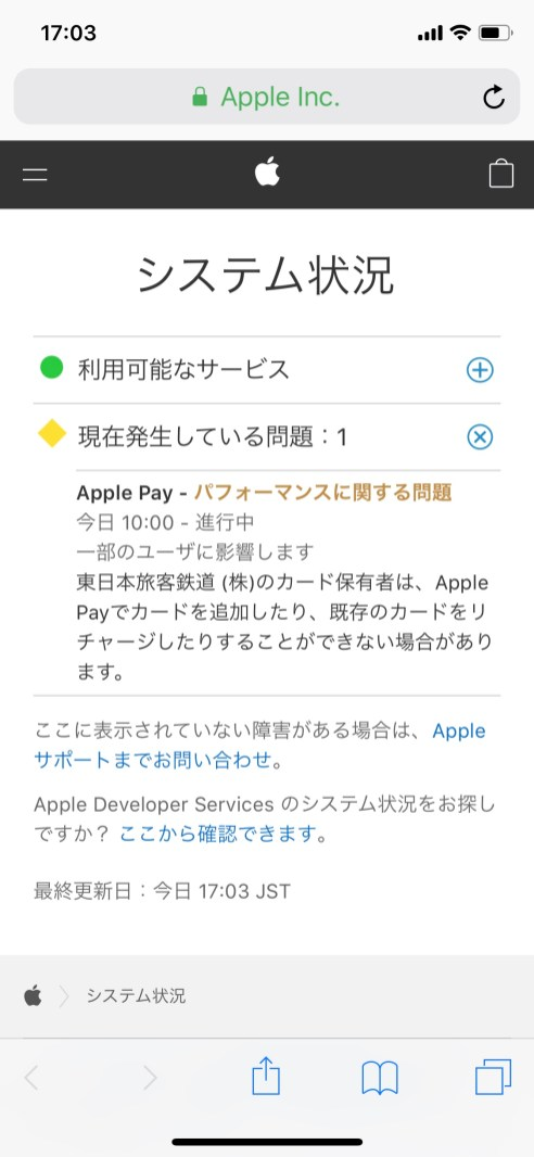 iCloud Status Page Apple Pay Problem