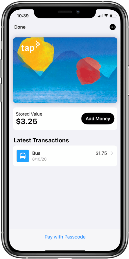 Apple Pay TAP is the only US Apple Pay transit card with an Add Money button in Wallet. All other cards force users to reload/recharge in a transit app
