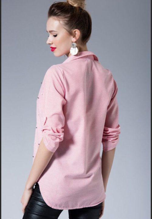 Koszula w paseczki z perełkami różowa