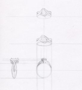 Technical sketch for ruby and diamond anniversary ring by Joana Miranda