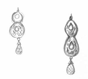 Pencil Quick Sketch Earring Design by Joana Miranda