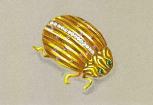 18K Yellow Gold Ladybug Brooch with Rubies, Diamonds and Cabochon Emeralds by Joana Miranda