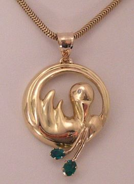18K Yellow Gold, Diamond and Emerald Bird Pendant by Joana Miranda