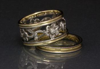 Gold, Platinum and Diamond Engagement Ring Designed by Joana Miranda
