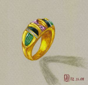 Watercolor and Gouache Yellow Gold, Jade, Onyx, Diamond and Ruby Ring Rendering by Joana Miranda