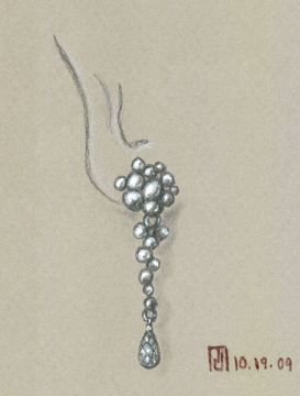 Pencil and Gouache Sketch for Riverstone Earring by Joana Miranda