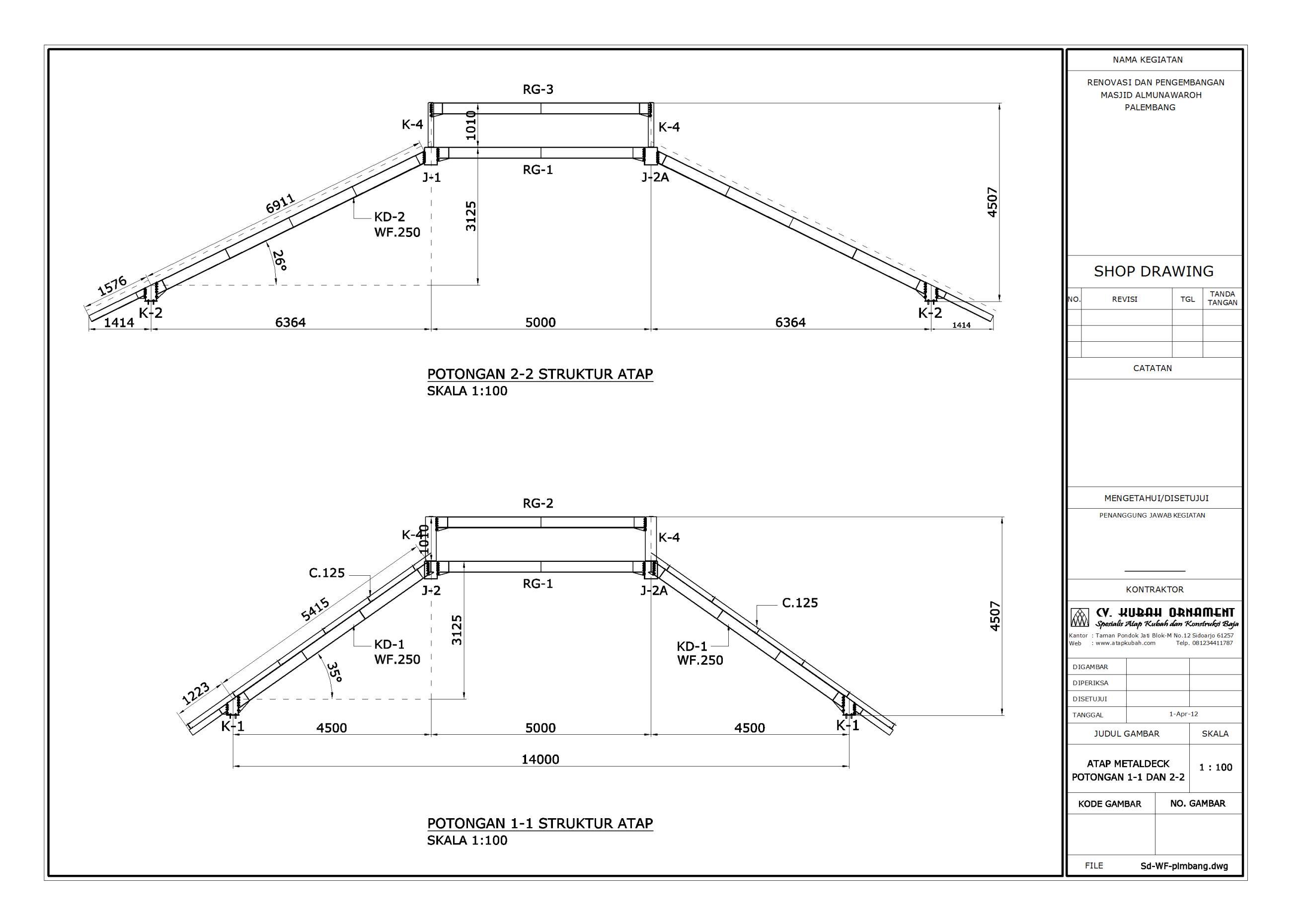 kuda baja ringan bentang 15 m desain konstruksi atap wf besi berat cv
