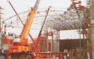 pemasangan, space frame,metode,canopy, alat berat