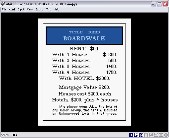 Monopoly Atari 8 Bit Computers AtariAge Forums