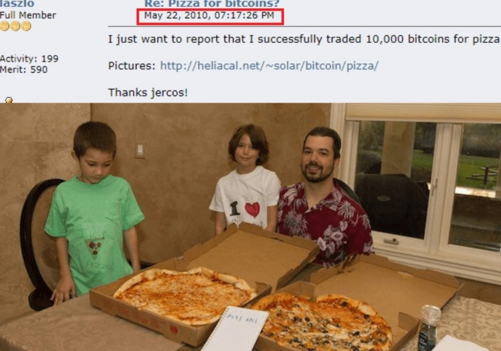 За 10 тысяч BTC Ласло купил 2 пиццы (на фото).