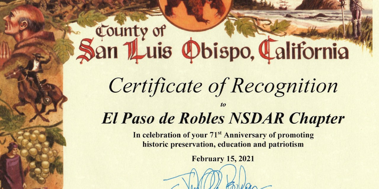 El Paso de Robles Chapter NSDAR Receives a Certificate of Recognition from Supervisor Peschong
