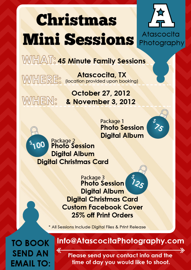 Christmas Mini Session Flyer Atascocita Photography