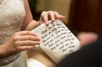 Woodlands Resort Wedding Photographer: The Bride gives her father a special gift.