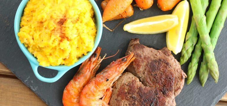 Surf 'n' Turf with Creamed Sweetcorn and Honey Glazed Chantenay Carrots #PowerOfFrozen