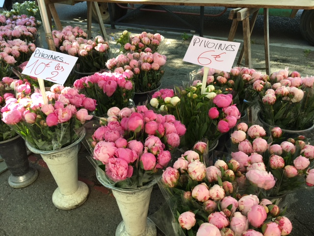 Pink Peonies in vases for sale at a market