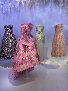 An assortment of 4 Dior gowns.