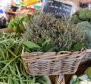 Basket of fresh herbs.