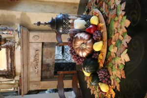 Copper pumpkins and fresh fruit centerpiece.