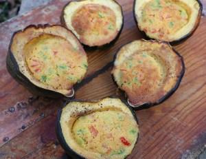 Cornbread cooked in acorn squash cups
