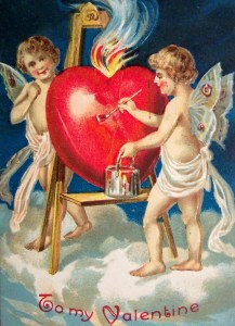 cupids painting a heart