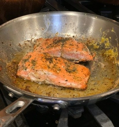 Provencal Salmon in a chefs pan