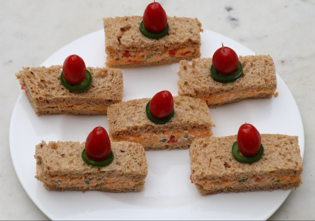 Jalapenos pimento cheese finger sandwiches